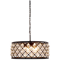 Elegant Lighting 1213D25MB/RC Madison 6 Light 25 inch Matte Black Pendant Ceiling Light in Clear, Smooth Royal Cut, Urban Classic