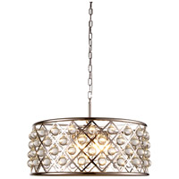 Elegant Lighting 1213D25PN/RC Madison 6 Light 25 inch Polished Nickel Pendant Ceiling Light in Clear, Smooth Royal Cut, Urban Classic