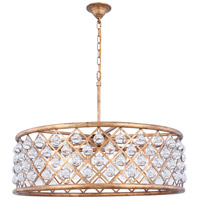 Elegant Lighting 1213D32GI/RC Madison 8 Light 32 inch Golden Iron Pendant Ceiling Light in Clear, Smooth Royal Cut, Urban Classic