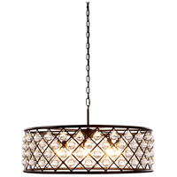 Elegant Lighting 1213D32MB/RC Madison 8 Light 32 inch Matte Black Pendant Ceiling Light in Clear, Smooth Royal Cut, Urban Classic