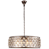Elegant Lighting 1213D32PN/RC Madison 8 Light 32 inch Polished Nickel Pendant Ceiling Light in Clear, Smooth Royal Cut, Urban Classic