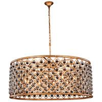 Elegant Lighting 1213G43GI/RC Madison 10 Light 44 inch Golden Iron Pendant Ceiling Light in Clear Smooth Royal Cut Urban Classic
