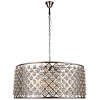Elegant Lighting 1213G43PN/RC Madison 10 Light 44 inch Polished Nickel Pendant Ceiling Light in Clear, Smooth Royal Cut, Urban Classic