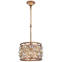 Elegant Lighting 1214D12GI-GT/RC Madison 3 Light 12 inch Golden Iron Pendant Ceiling Light in Golden Teak Faceted Royal Cut Urban Classic