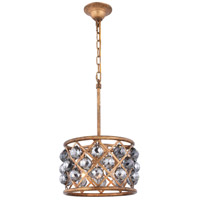Elegant Lighting 1214D12GI-SS/RC Madison 3 Light 12 inch Golden Iron Pendant Ceiling Light in Silver Shade Faceted Royal Cut Urban Classic