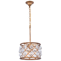 Elegant Lighting 1214D12GI/RC Madison 3 Light 12 inch Golden Iron Pendant Ceiling Light in Clear Faceted Royal Cut Urban Classic