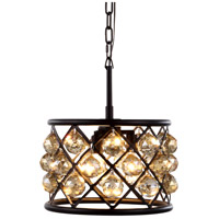Urban Classic by Elegant Lighting Madison 3 Light Pendant in Mocha Brown with Royal Cut Golden Teak Crystal 1214D12MB-GT/RC