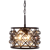 Urban Classic by Elegant Lighting Madison 3 Light Pendant in Mocha Brown with Royal Cut Silver Shade Crystal 1214D12MB-SS/RC