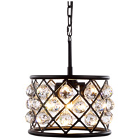 Urban Classic by Elegant Lighting Madison 3 Light Pendant in Mocha Brown with Royal Cut Clear Crystal 1214D12MB/RC