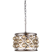 Urban Classic by Elegant Lighting Madison 3 Light Pendant in Polished Nickel with Royal Cut Golden Teak Crystal 1214D12PN-GT/RC