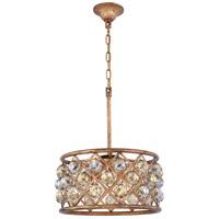 Elegant Lighting 1214D16GI-GT/RC Madison 4 Light 16 inch Golden Iron Pendant Ceiling Light in Golden Teak Faceted Royal Cut Urban Classic
