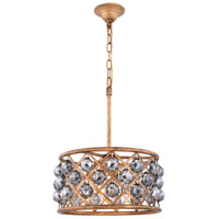 Elegant Lighting 1214D16GI-SS/RC Madison 4 Light 16 inch Golden Iron Pendant Ceiling Light in Silver Shade Faceted Royal Cut Urban Classic
