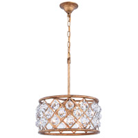 Elegant Lighting 1214D16GI/RC Madison 4 Light 16 inch Golden Iron Pendant Ceiling Light in Clear Faceted Royal Cut Urban Classic
