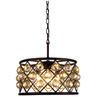Madison 4 Light 16 inch Mocha Brown Pendant Ceiling Light in Golden Teak, Faceted Royal Cut, Urban Classic
