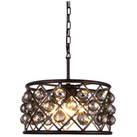 Urban Classic by Elegant Lighting Madison 4 Light Pendant in Mocha Brown with Royal Cut Silver Shade Crystal 1214D16MB-SS/RC