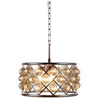Urban Classic by Elegant Lighting Madison 4 Light Pendant in Polished Nickel with Royal Cut Golden Teak Crystal 1214D16PN-GT/RC