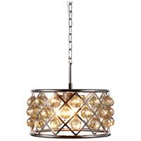 Elegant Lighting 1214D16PN-GT/RC Madison 4 Light 16 inch Polished Nickel Pendant Ceiling Light in Golden Teak Faceted Royal Cut Urban Classic