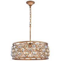 Elegant Lighting 1214D20GI-GT/RC Madison 5 Light 20 inch Golden Iron Pendant Ceiling Light in Golden Teak Faceted Royal Cut Urban Classic