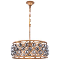 Elegant Lighting 1214D20GI-SS/RC Madison 5 Light 20 inch Golden Iron Pendant Ceiling Light in Silver Shade Faceted Royal Cut Urban Classic