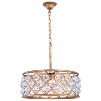 Elegant Lighting 1214D20GI/RC Madison 5 Light 20 inch Golden Iron Pendant Ceiling Light in Clear Faceted Royal Cut Urban Classic
