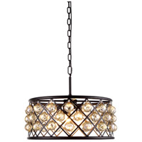 Urban Classic by Elegant Lighting Madison 5 Light Pendant in Mocha Brown with Royal Cut Golden Teak Crystal 1214D20MB-GT/RC