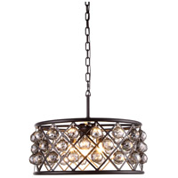 Urban Classic by Elegant Lighting Madison 5 Light Pendant in Mocha Brown with Royal Cut Silver Shade Crystal 1214D20MB-SS/RC