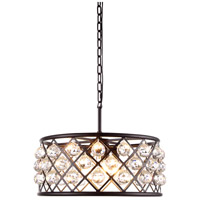 Urban Classic by Elegant Lighting Madison 5 Light Pendant in Mocha Brown with Royal Cut Clear Crystal 1214D20MB/RC