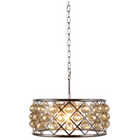Elegant Lighting 1214D20PN-GT/RC Madison 5 Light 20 inch Polished Nickel Pendant Ceiling Light in Golden Teak Faceted Royal Cut Urban Classic