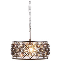 Elegant Lighting 1214D20PN-SS/RC Madison 5 Light 20 inch Polished Nickel Pendant Ceiling Light in Silver Shade Faceted Royal Cut Urban Classic