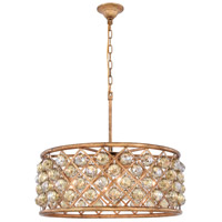 Madison 6 Light 25 inch Golden Iron Pendant Ceiling Light in Golden Teak, Faceted Royal Cut, Urban Classic