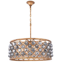 Elegant Lighting 1214D25GI-SS/RC Madison 6 Light 25 inch Golden Iron Pendant Ceiling Light in Silver Shade Faceted Royal Cut Urban Classic