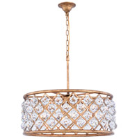 Madison 6 Light 25 inch Golden Iron Pendant Ceiling Light in Clear, Faceted Royal Cut, Urban Classic