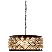 Urban Classic by Elegant Lighting Madison 6 Light Pendant in Mocha Brown with Royal Cut Golden Teak Crystal 1214D25MB-GT/RC