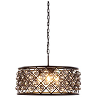 Urban Classic by Elegant Lighting Madison 6 Light Pendant in Mocha Brown with Royal Cut Silver Shade Crystal 1214D25MB-SS/RC
