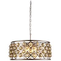 Urban Classic by Elegant Lighting Madison 6 Light Pendant in Polished Nickel with Royal Cut Golden Teak Crystal 1214D25PN-GT/RC