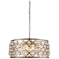 Urban Classic by Elegant Lighting Madison 6 Light Pendant in Polished Nickel with Royal Cut Clear Crystal 1214D25PN/RC