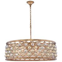 Elegant Lighting 1214D32GI-GT/RC Madison 8 Light 32 inch Golden Iron Pendant Ceiling Light in Golden Teak Faceted Royal Cut Urban Classic