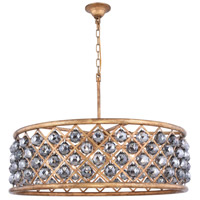 Elegant Lighting 1214D32GI-SS/RC Madison 8 Light 32 inch Golden Iron Pendant Ceiling Light in Silver Shade Faceted Royal Cut Urban Classic