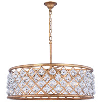 Elegant Lighting 1214D32GI/RC Madison 8 Light 32 inch Golden Iron Pendant Ceiling Light in Clear Faceted Royal Cut Urban Classic