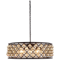 Urban Classic by Elegant Lighting Madison 8 Light Pendant in Mocha Brown with Royal Cut Golden Teak Crystal 1214D32MB-GT/RC