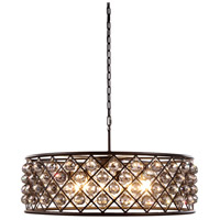 Urban Classic by Elegant Lighting Madison 8 Light Pendant in Mocha Brown with Royal Cut Silver Shade Crystal 1214D32MB-SS/RC