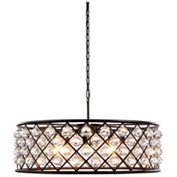 Urban Classic by Elegant Lighting Madison 8 Light Pendant in Mocha Brown with Royal Cut Clear Crystal 1214D32MB/RC