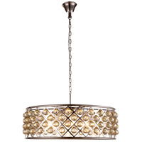 Urban Classic by Elegant Lighting Madison 8 Light Pendant in Polished Nickel with Royal Cut Golden Teak Crystal 1214D32PN-GT/RC