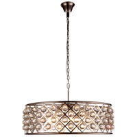 Urban Classic by Elegant Lighting Madison 8 Light Pendant in Polished Nickel with Royal Cut Clear Crystal 1214D32PN/RC