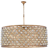 Madison 10 Light 44 inch Golden Iron Pendant Ceiling Light in Golden Teak, Faceted Royal Cut