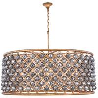 Elegant Lighting 1214G43GI-SS/RC Madison 10 Light 44 inch Golden Iron Pendant Ceiling Light in Silver Shade Faceted Royal Cut Urban Classic