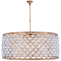 Madison 10 Light 44 inch Golden Iron Pendant Ceiling Light in Clear, Faceted Royal Cut, Urban Classic