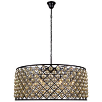 Elegant Lighting 1214G43MB-GT/RC Madison 10 Light 44 inch Matte Black Pendant Ceiling Light in Golden Teak Faceted Royal Cut Urban Classic