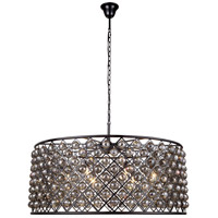 Elegant Lighting 1214G43MB-SS/RC Madison 10 Light 44 inch Matte Black Pendant Ceiling Light in Silver Shade Faceted Royal Cut Urban Classic