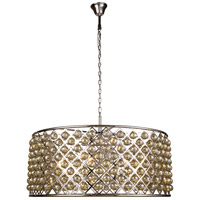 Madison 10 Light 44 inch Polished Nickel Pendant Ceiling Light in Golden Teak, Faceted Royal Cut